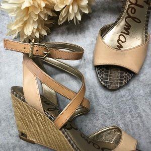 Sam Edelman Tan Samara Wedge Sandals Size 8.5